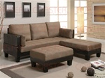 Lauren 3 Piece Sofa Bed Set Tan Microfiber/Brown Vinyl by Coaster - 300160