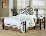 Decorative Queen Size Iron Bed in Antique Green Finish by Coaster - 300161Q