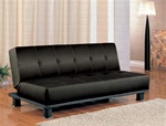 Black Vinyl Sofa Bed by Coaster - 300163