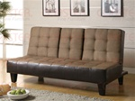 Tan Microfiber/Dark Brown Vinyl Sofa Bed by Coaster - 300237