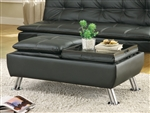 Black Leather Like Vinyl Storage Ottoman by Coaster - 300283