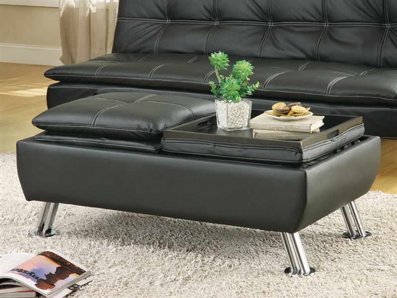 Black leather like vinyl storage ottoman by coaster 300283 for Black leather footstool