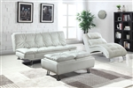 Dilleston Sofa Bed in White Leatherette Upholstery by Coaster - 300291