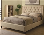 Beige Linen Fabric Upholstered Bed by Coaster - 300332