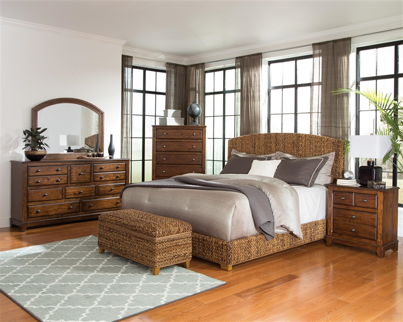 Laughton Woven Banana Leaf Bed 6 Piece Bedroom Set In Rustic Brown Finish By Coaster 300501
