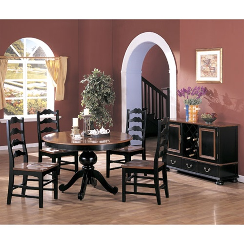 two tone round 5 piece dining set in black and dark maple finish