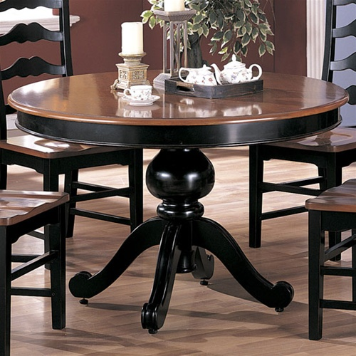Two Tone Round 5 Piece Dining Set In Black And Dark Maple Finish By Coaster   3857
