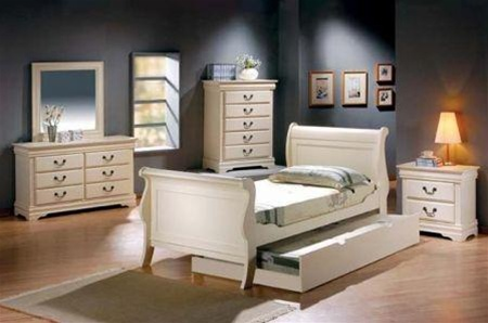 4 Piece Louis Philippe Youth Bedroom Set In Creamy Antique White Finish By  Coaster   400001