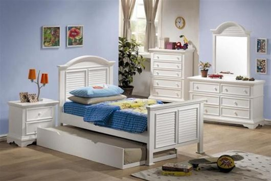 4 Piece Louvered Shutter Design Collection Bedroom Furniture Set ...