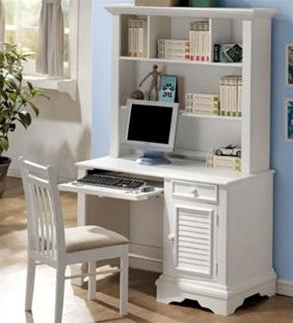 Great Bedroom Furniture Louvered Shutter Design Collection Computer Desk With  Hutch In Matte White Finish By Coaster   400127