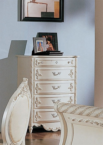 4 Piece Alexandria Sleigh Bed Bedroom Furniture Set In White Pearl Finish With Gold Accents By