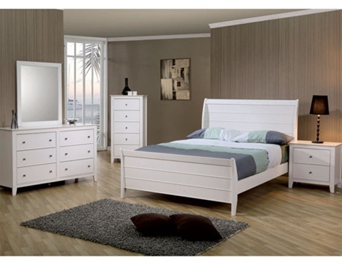 Sandy Beach Youth 4 Piece Sleigh Bedroom Furniture Set In White Finish By Coaster 400231