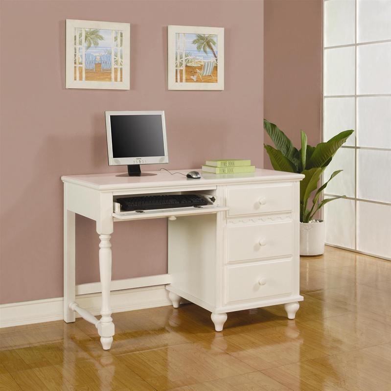 Pepper Youth Pedestal Desk in Eggshell White Finish by Coaster
