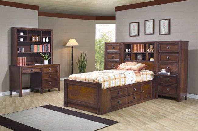Lovely 4 Piece Dominic Youth Bedroom Set With Storage Bed In Rich Walnut Finish By  Coaster   400740