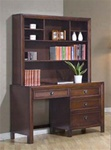 Dominic Youth Computer Desk with Hutch in Rich Walnut Finish by Coaster - 400747