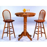 Oak Finish Round Top Counter Height 3 Piece Bar Table Set by Coaster - 4095