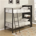 Twin Twin Workspace Bunk Bed in Gunmetal and Silver Finish by Coaster - 460021