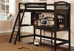 Phoenix Work Station Bunk Bed in Rich Deep Cappuccino Finish by Coaster - 460063