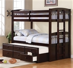 Logan Twin/Twin Bunk Bed in Cappuccino Finish by Coaster - 460071