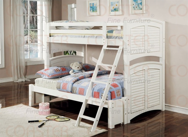 Louvered Shutter Twin Full Bunk Bed in White Finish by Coaster