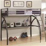 Metal Twin Workstation Loft Bed with Desk and Curved Ladder by Coaster - 460110