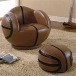 Small Basketball Chair and Ottoman by Coaster - 460176