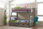 Storage Twin Full Bunk Bed in Grey Finish by Coaster - 460182