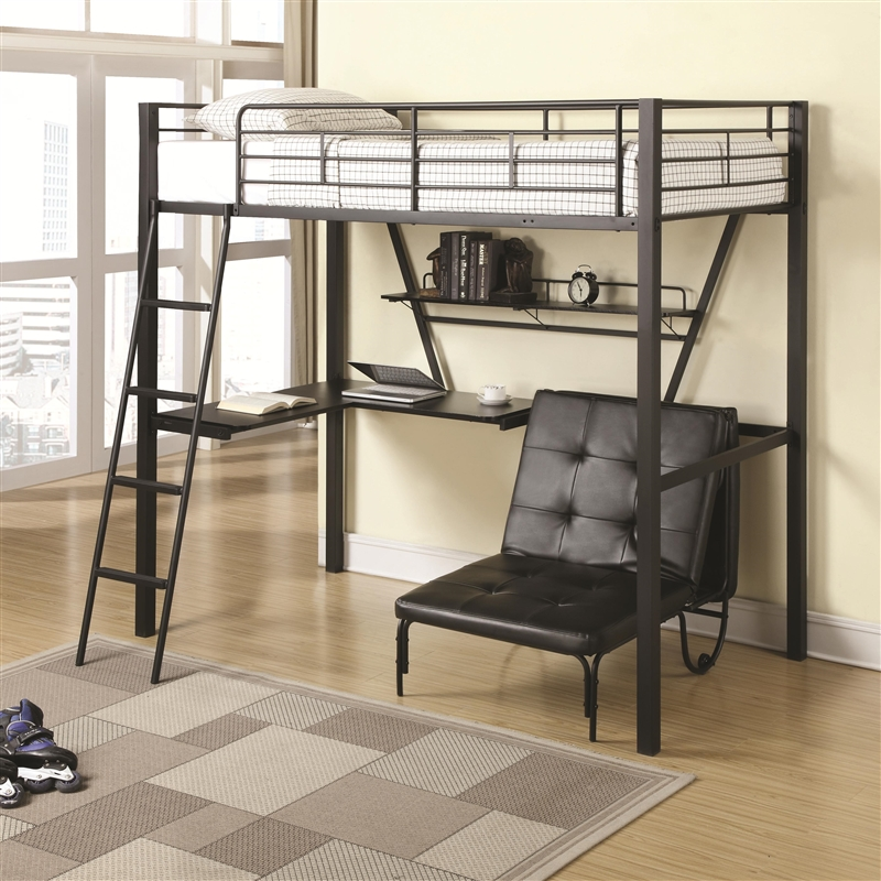 Twin Workstation Loft Bed And Convertible Chair By Coaster