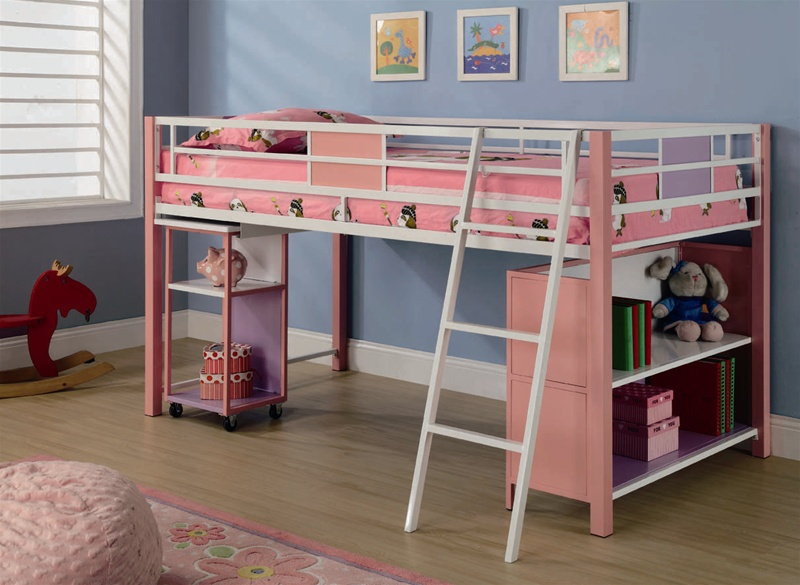 sadie twin loft bed in pink finish by coaster 460200. Black Bedroom Furniture Sets. Home Design Ideas