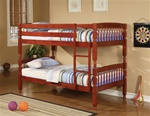 Twin over Twin Lattice Design Bunk Bed in Rich Cherry Finish by Coaster - 460221