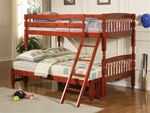 Twin over Full Lattice Design Bunk Bed in Rich Cherry Finish by Coaster - 460222