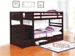 Elliott Twin Storage Bunk Bed in Cappuccino Finish by Coaster - 460441