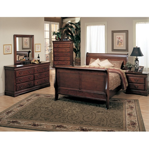Lorraine 6 Piece Oak Finish Sleigh Bedroom Furniture Set by ...