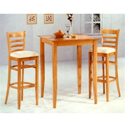 Maple Finish Counter Height 3 Piece Bar Table Set By Coaster 4927