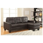 Acosta Dark Brown Leatherette Sectional by Coaster - 500054