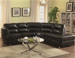 Chaisson Black Leather Sectional by Coaster - 500079