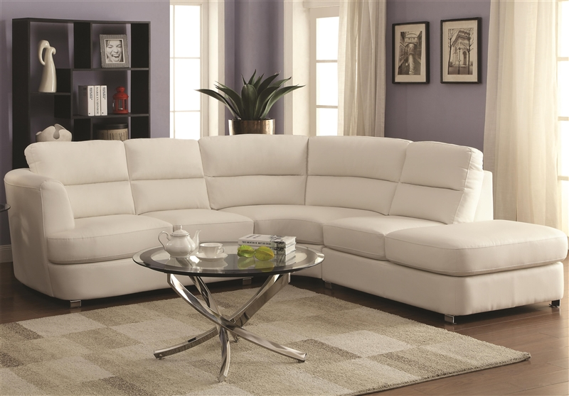 Chaisson white leather sectional by coaster 500080 for Albany saturn sectional sofa chaise