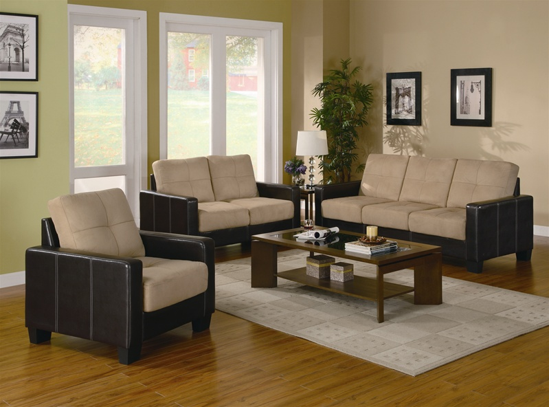 Regatta Khaki Microfiber/Dark Brown Vinyl 3 Piece Living Room Set ...