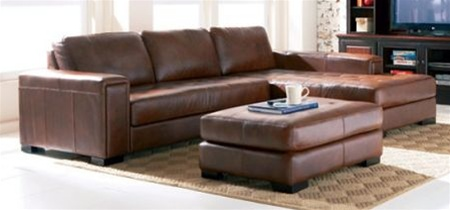 Brown leather easton sectional sofa by coaster 500635 for Easton leather sectional sofa
