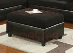 Crescent Black Vinyl/Microfiber Ottoman by Coaster - 500736