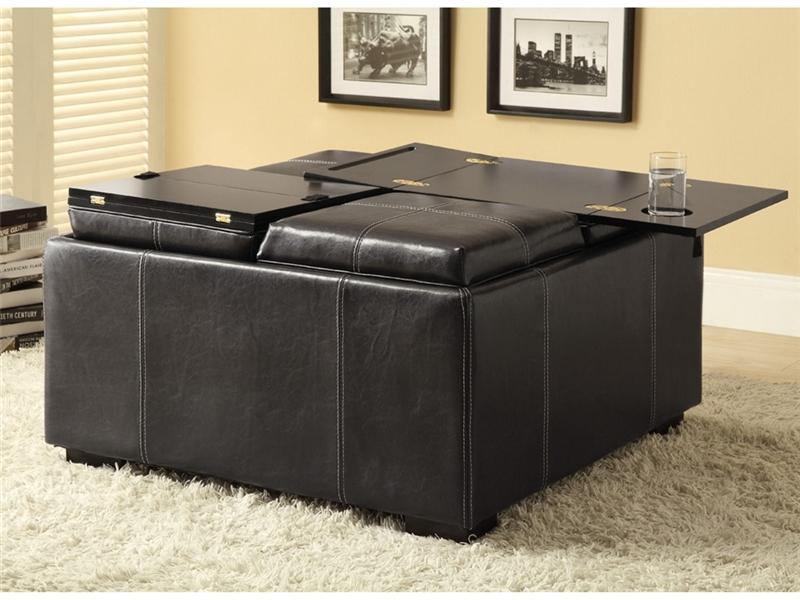 Multi purpose black leather like storage ottoman by
