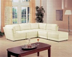 Kayson 5 Piece 100% White Leather Sectional by Coaster - 500894