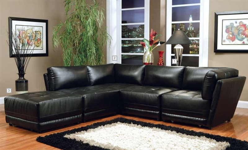 kayson build your own sectional white leather by coaster 500894 m. Black Bedroom Furniture Sets. Home Design Ideas