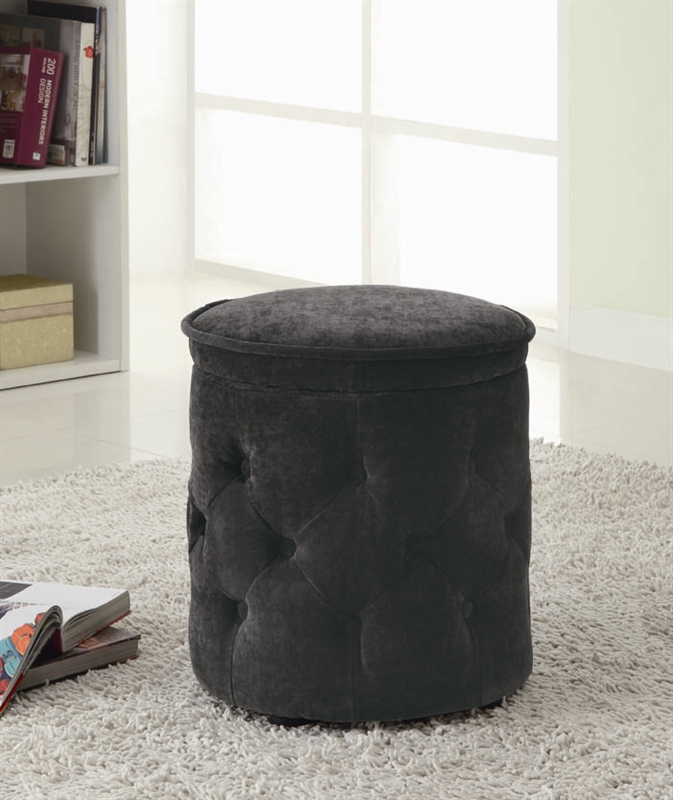 - Charcoal Round Storage Ottoman By Coaster - 500926