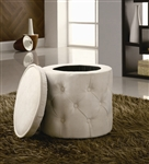Beige Round Storage Ottoman by Coaster - 500929