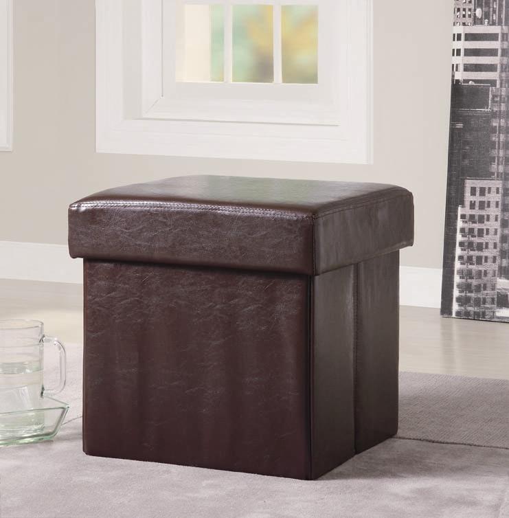 brown vinyl storage ottoman by coaster 500937