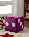 Dice Ottoman in Pink Fuzzy Fabric by Coaster - 500942