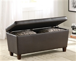 Dark Brown Vinyl Upholstered Storage Bench with Accent Pillows by Coaster - 500975