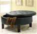 Round Black Upholstered Storage Ottoman by Coaster - 501010