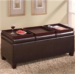 Dark Brown Vinyl Storage Ottoman by Coaster - 501036